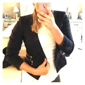 Navy H&M Blazer with Gold Zipper Detail